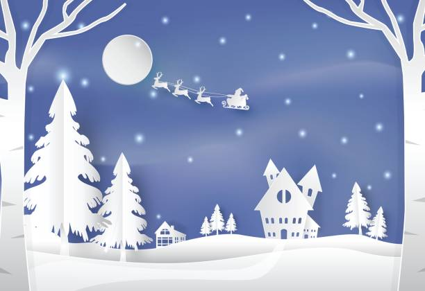 Winter holiday santa and deer with snow nature background vector art illustration