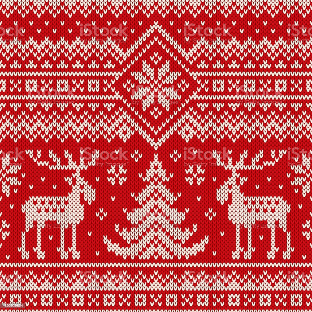 Winter Holiday Seamless Knitted Pattern with a Christmas Trees and Elks. Knitting Sweater Design. Wool Knitted Texture vector art illustration