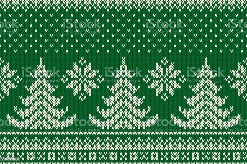 Winter Holiday Seamless Knitted Pattern with a Christmas Trees. Knitting Sweater Design. Wool Knit Texture vector art illustration