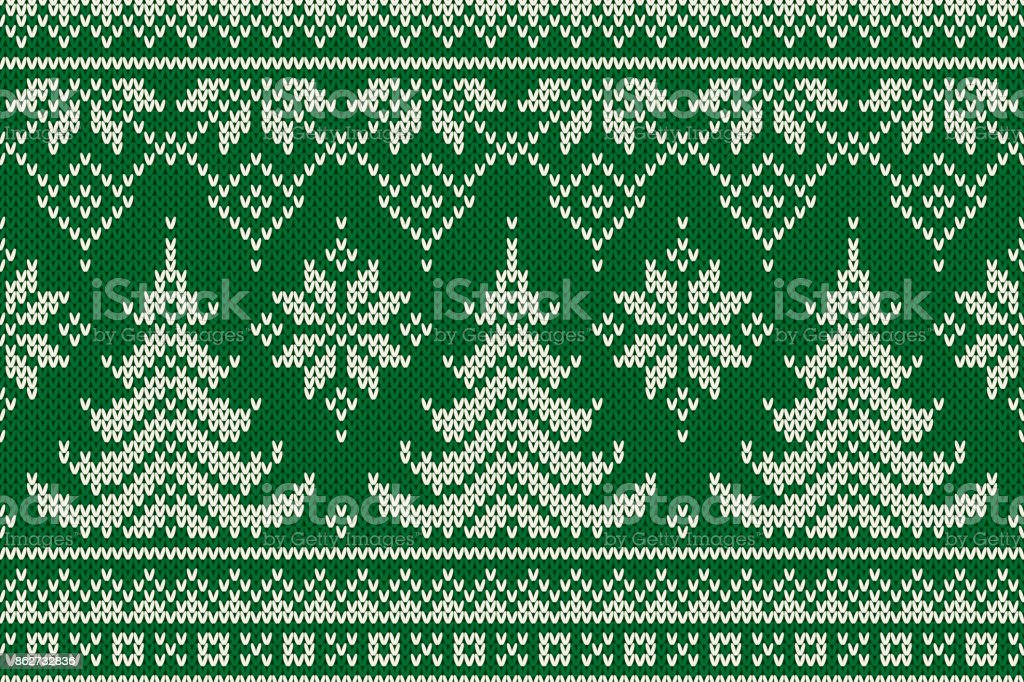 Winter Holiday Seamless Knitted Pattern with a Christmas Trees. Knitting Sweater Design. Wool Knitted Texture vector art illustration