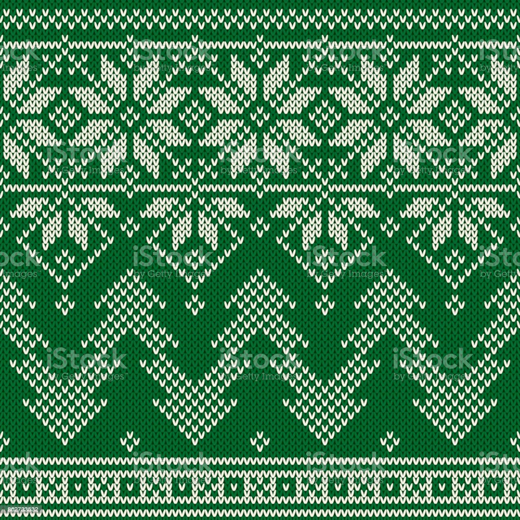 Winter Holiday Seamless Knitted Pattern With A Christmas Trees ...