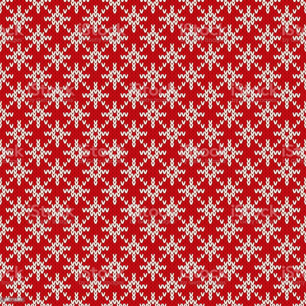 Winter Holiday Seamless Knitted Pattern with a Snowflakes. Christmas Knitting Sweater Design. Wool Knitted Texture vector art illustration
