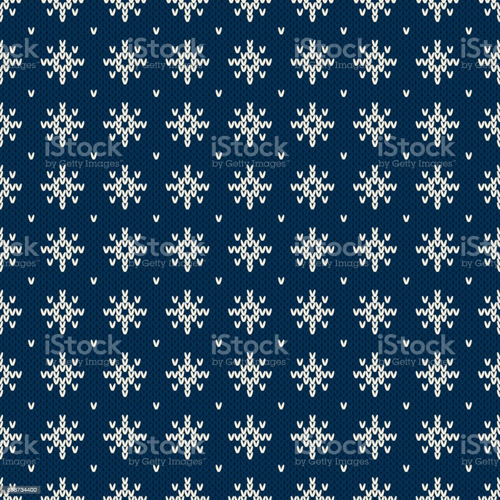 0f305c236d66b Winter Holiday Seamless Knitted Pattern with a Snowflakes. Knitting Sweater  Design. Wool Knitted Texture - Illustration .