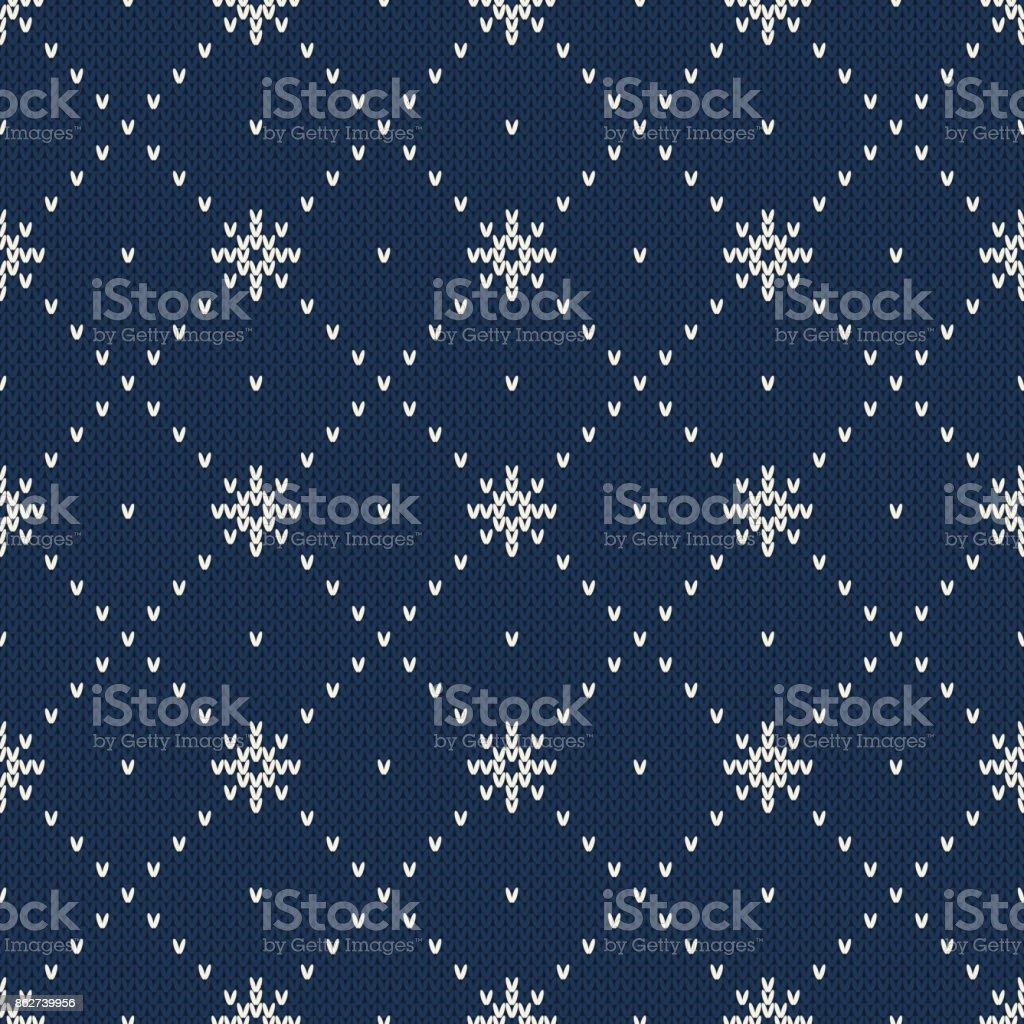 Winter Holiday Seamless Knitted Pattern with a Snowflakes. Knitting Sweater Design. Wool Knitted Texture vector art illustration