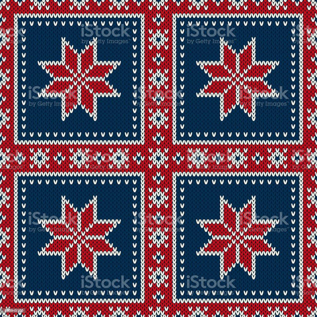 1b379d58 Sportlovet sömlös stickad mönster med en snöflingor. Stickning Patchwork  stil tröja Design. Ull stickad