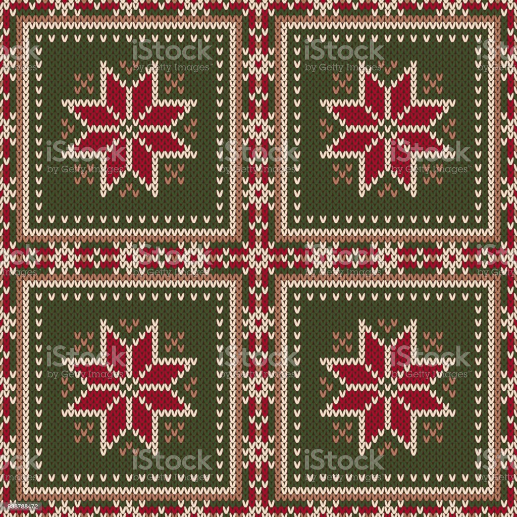 Winter Holiday Seamless Knitted Pattern With A Snowflakes Knitting ...