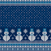 Winter Holiday Seamless Knitted Pattern with a Snowman and Snowflakes. Christmas and New Year Design Background. Wool Knit Sweater Design.