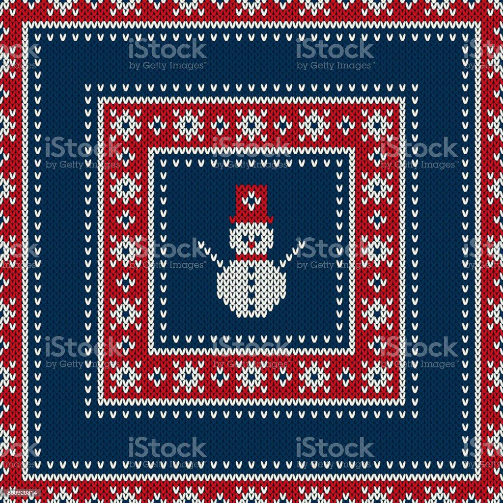 Vacaciones De Invierno Punto Patrón Con Un Muñeco De Nieve Diseño De ...