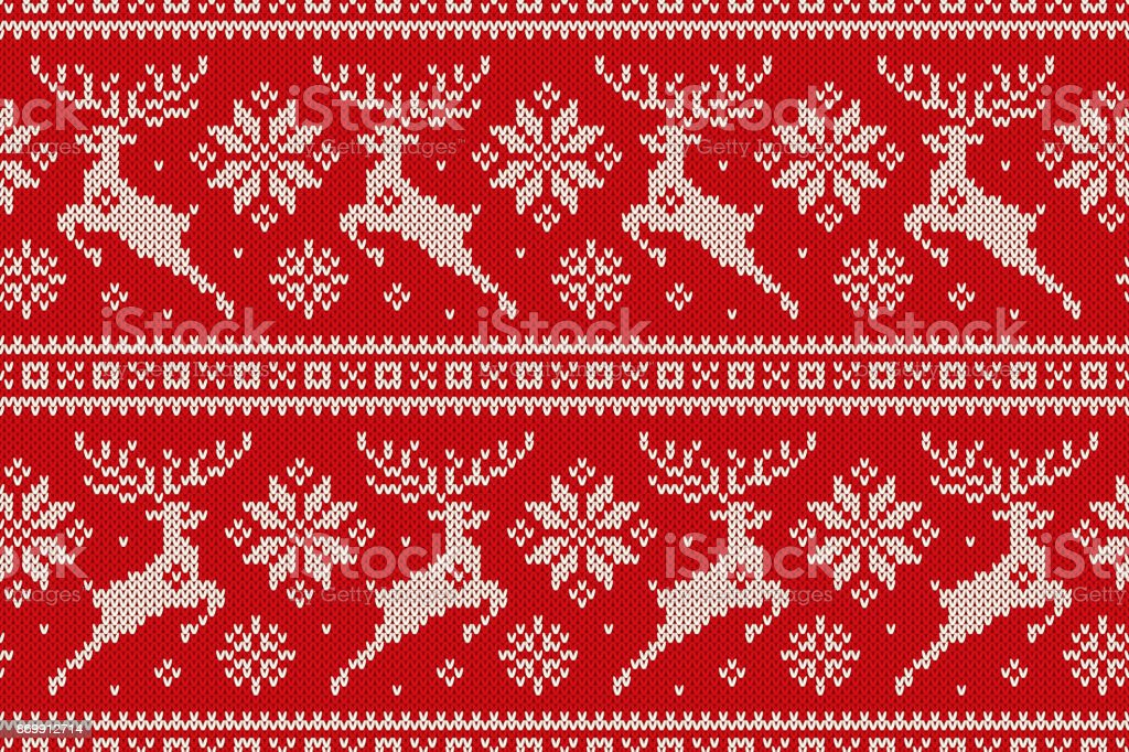 Winter Holiday Seamless Knitted Pattern With Christmas Reindeer And