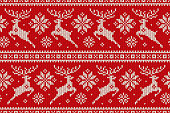 Winter Holiday Seamless Knitted Pattern with Christmas Reindeer and Snowflakes. Wool Knitting Sweater Design