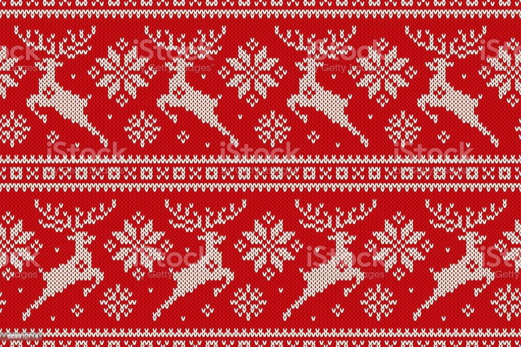 Vacaciones de invierno punto patrón con Reno de Navidad y copos de nieve. Diseño de suéter de punto de lana - ilustración de arte vectorial