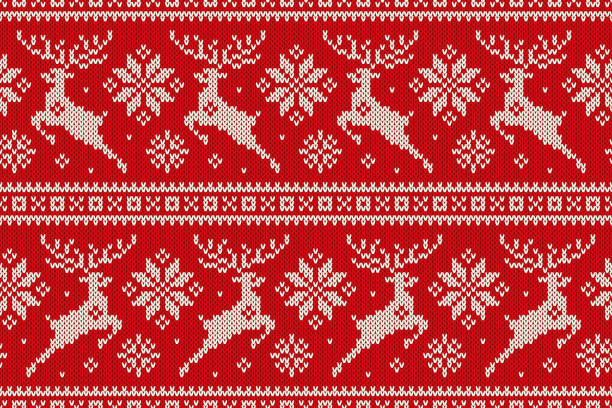 winter holiday seamless knitted pattern with christmas reindeer and snowflakes. wool knitting sweater design - winter fashion stock illustrations, clip art, cartoons, & icons