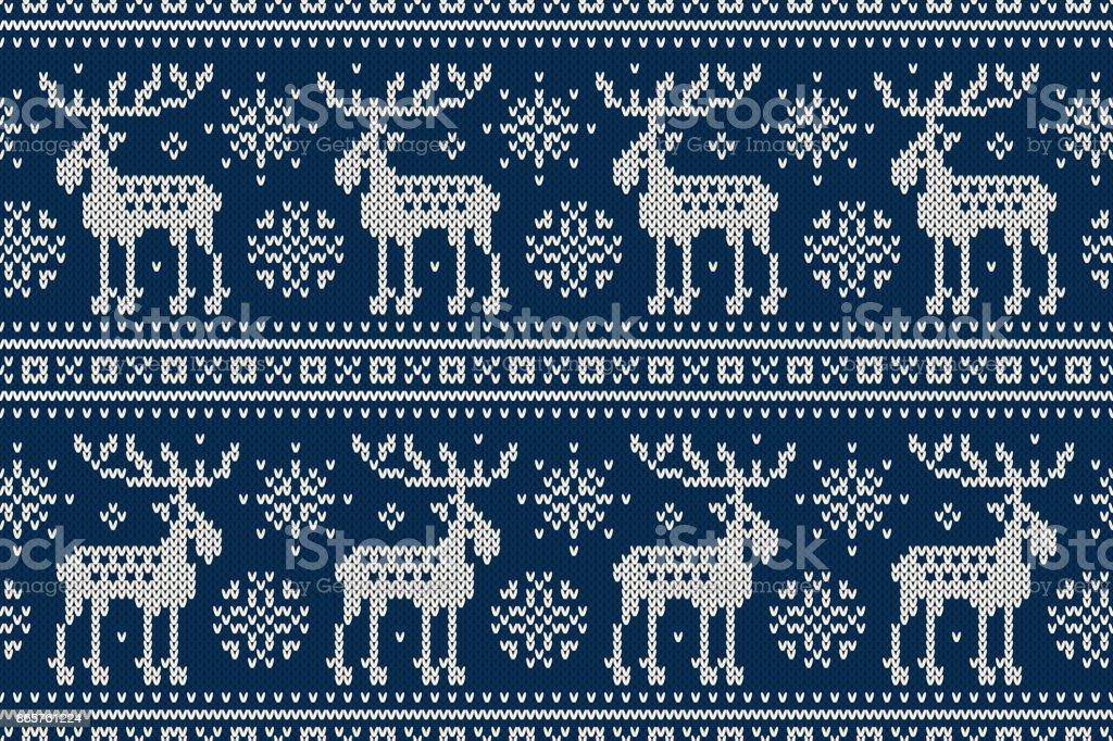 74a86229 Sportlovet sömlös stickad mönster med älgar och snöflingor. Sticka tröja  Design. Ull som är
