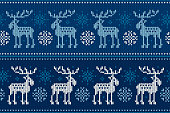 Winter Holiday Seamless Knitted Pattern with Elks and Snowflakes. Knitting Sweater Design. Wool Knitted Texture.