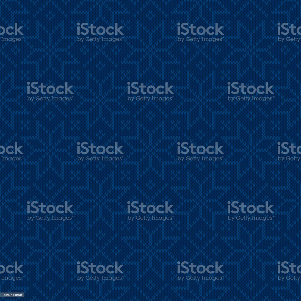 Winter Holiday Seamless Knitted Pattern with Snowflakes. Christmas and New Year Design Background with Shades of Blue Colors. Knitting Sweater Design vector art illustration