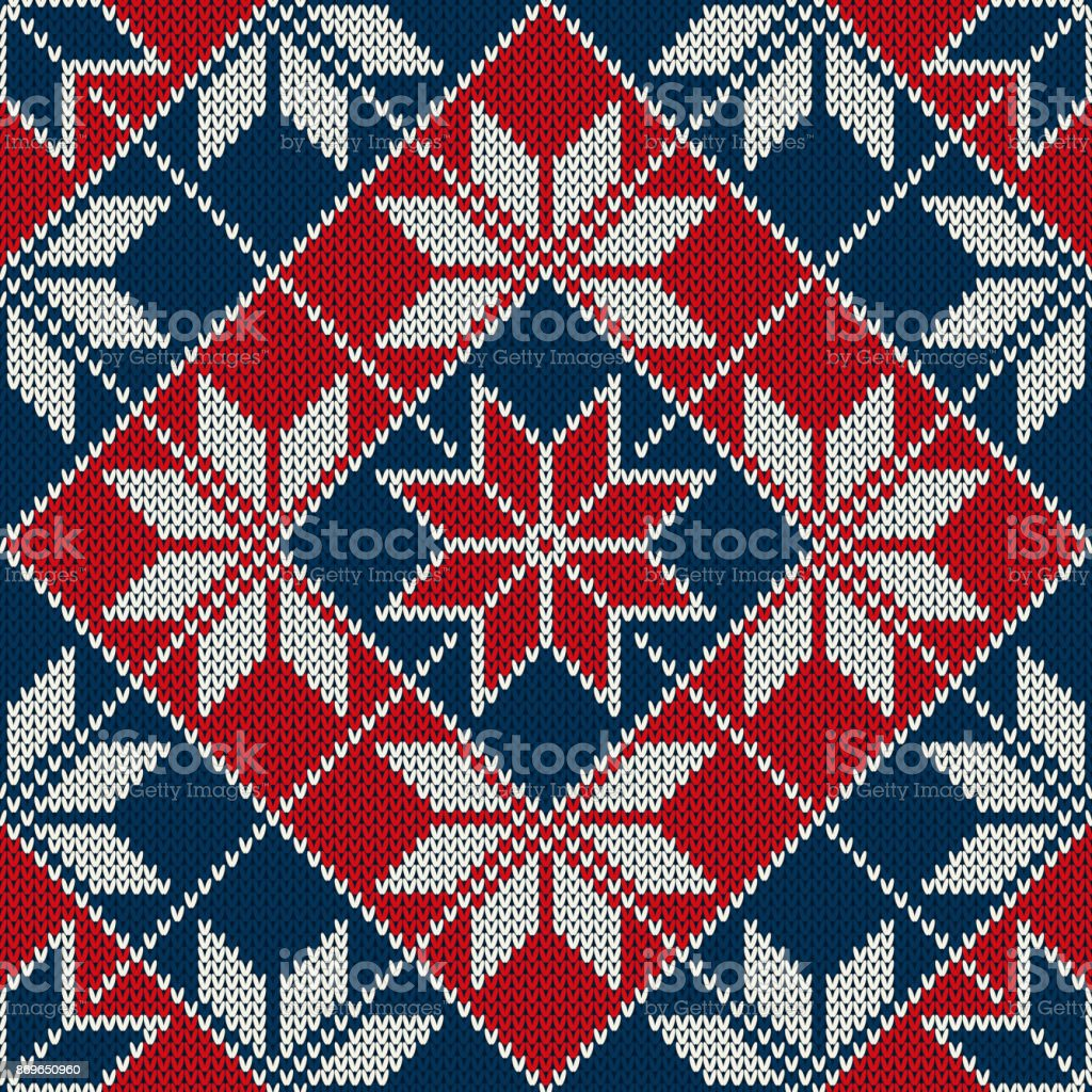 a02ed4540a8f29 Winter Holiday Seamless Knitted Pattern with Snowflakes. Fair Isle Knitting  Sweater Design royalty-free