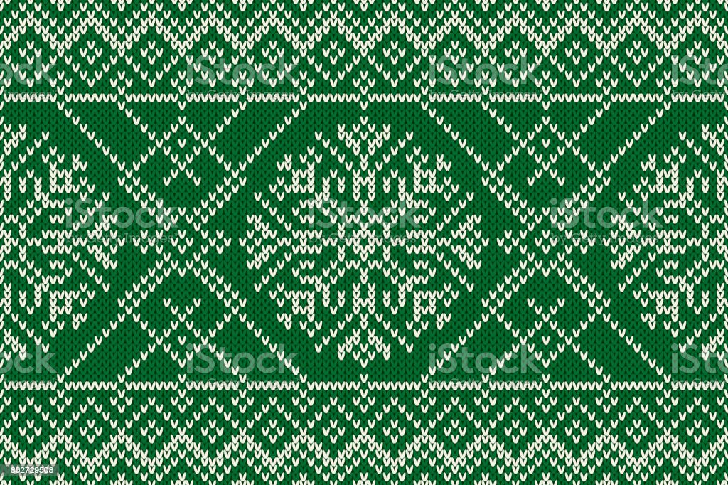 Winter Holiday Seamless Knitted Pattern with Snowflakes. Knitting Sweater Design. Wool Knitted Texture vector art illustration