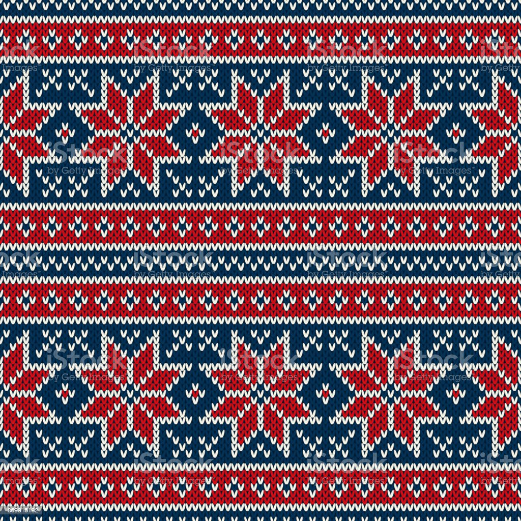 43ae6793e9a910 Winter Holiday Seamless Knitting Pattern with Snowflakes. Fair Isle Knitted  Sweater Design. Christmas Seamless