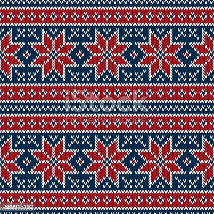 Winter Holiday Seamless Knitting Pattern With Snowflakes Fair Isle ...