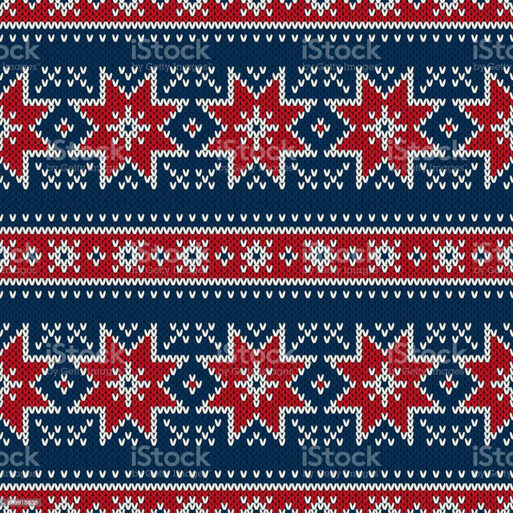 bb62fa4af04119 Winter Holiday Seamless Knitting Pattern with Snowflakes. Fair Isle Knitted  Sweater Design. Christmas Seamless Background - Illustration .