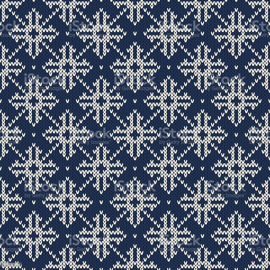 Winter Holiday Seamless Vector Knitted Pattern With Snowflakes Stock ...