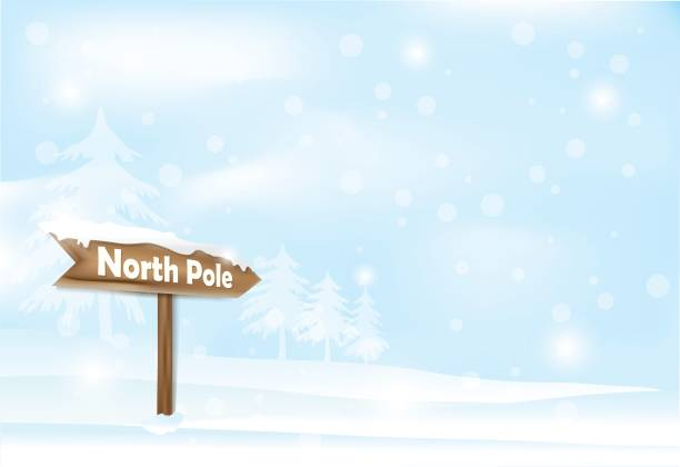 Winter holiday snowy and North pole sign background. Christmas season illustration. Winter holiday snowy and North pole wooden sign on blue sky background. Christmas season illustration. north pole stock illustrations