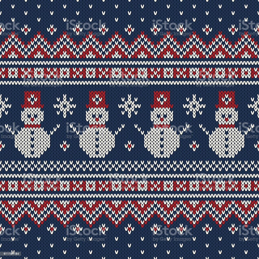 Winter Holiday Sweater Design with Snowmans. Seamless Knitted Pattern - ilustración de arte vectorial