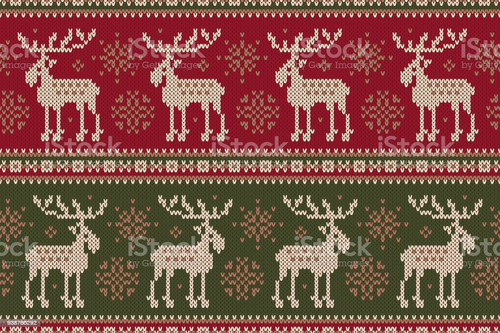 Winter Holiday Sweater With Elks And Snowflakes Seamless Knitting ...