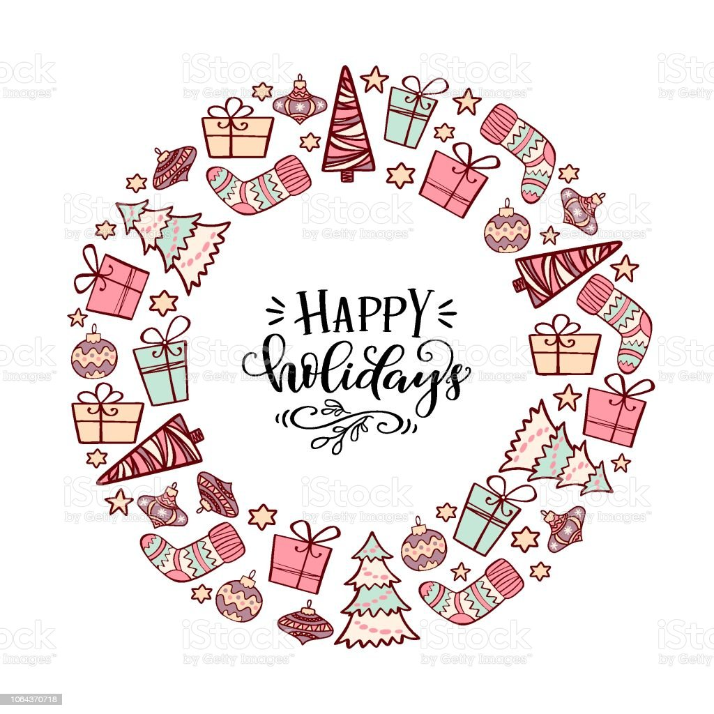 Winter Holiday Symbol In A Circle With Unique Greeting