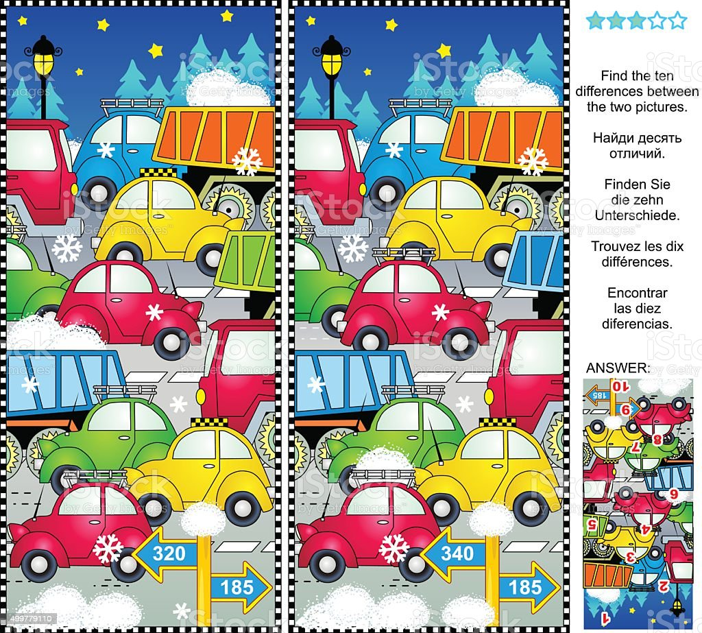 Winter holiday traffic jam find the differences picture puzzle vector art illustration