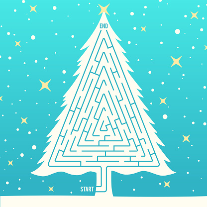 Winter Holiday Tree Maze Pattern