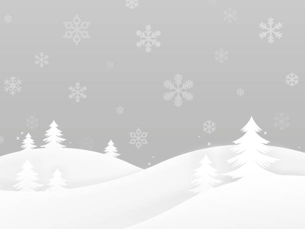 winter holiday trees background - black and white mountain stock illustrations, clip art, cartoons, & icons