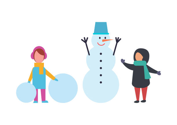 winterferien kinder spielen outdoor vector - karotte peace stock-grafiken, -clipart, -cartoons und -symbole
