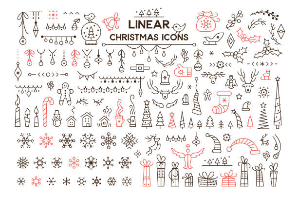 Winter holidays decoration vector linear illustrations set Winter holidays decoration vector linear illustrations set. Christmas season symbols. Black and red contour icons pack on white background. Snowflake, present isolated cliparts. New Year festive decor christmas icons stock illustrations