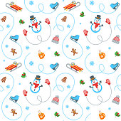 Winter holidays seamless pattern. Flat vector illustration. Simple objects scattered on white background. Cartoon style wrapping paper design. Kids activity in cold season. Colorful fabric print