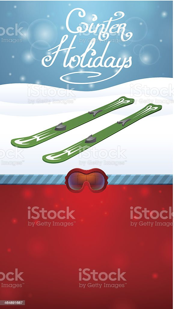 winter holidays green skiing and red ski goggles royalty-free winter holidays green skiing and red ski goggles stock vector art & more images of activity