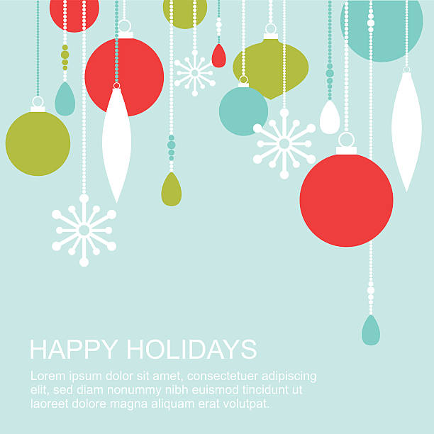 Winter holidays greetings card Simple modern colorful vector illustration with christmas ornaments, beads and snowflakes. Easy to edit, elements are grouped and in separate layers. christmas ornament stock illustrations