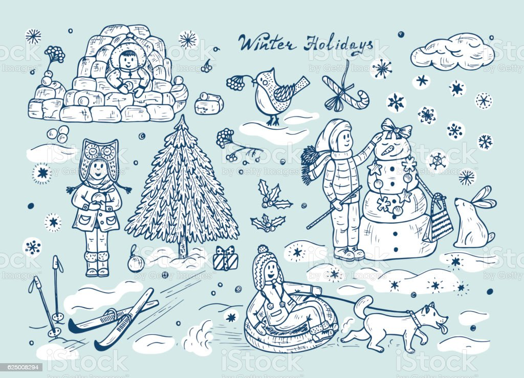 Winter holidays. Happy children playing outdoors in winter time. Childhood vector art illustration