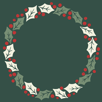 Winter Holidays Holly Foliage and Berries Round Vector Frame