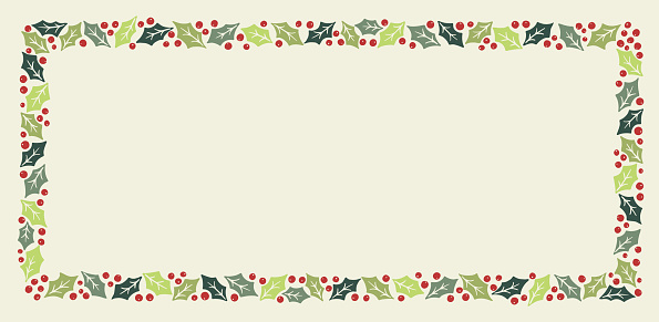 Winter Holidays Holly Foliage and Berries Vector Rectangular Frame