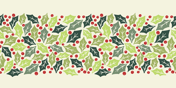 Winter Holidays Holly Foliage and Berries Vector Seamless Horizontal Pattern Border