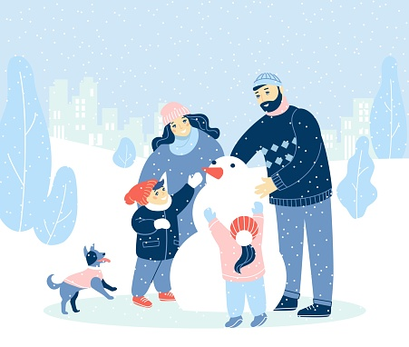 Winter holidays illustration with modern design people, Merry Christmas, Happy New Year.