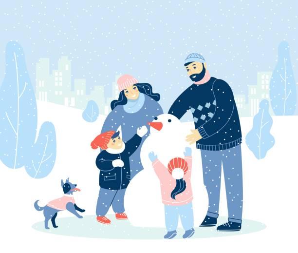 stockillustraties, clipart, cartoons en iconen met winter vakantie illustratie met moderne mensen, merry christmas, happy new year. - family winter holiday