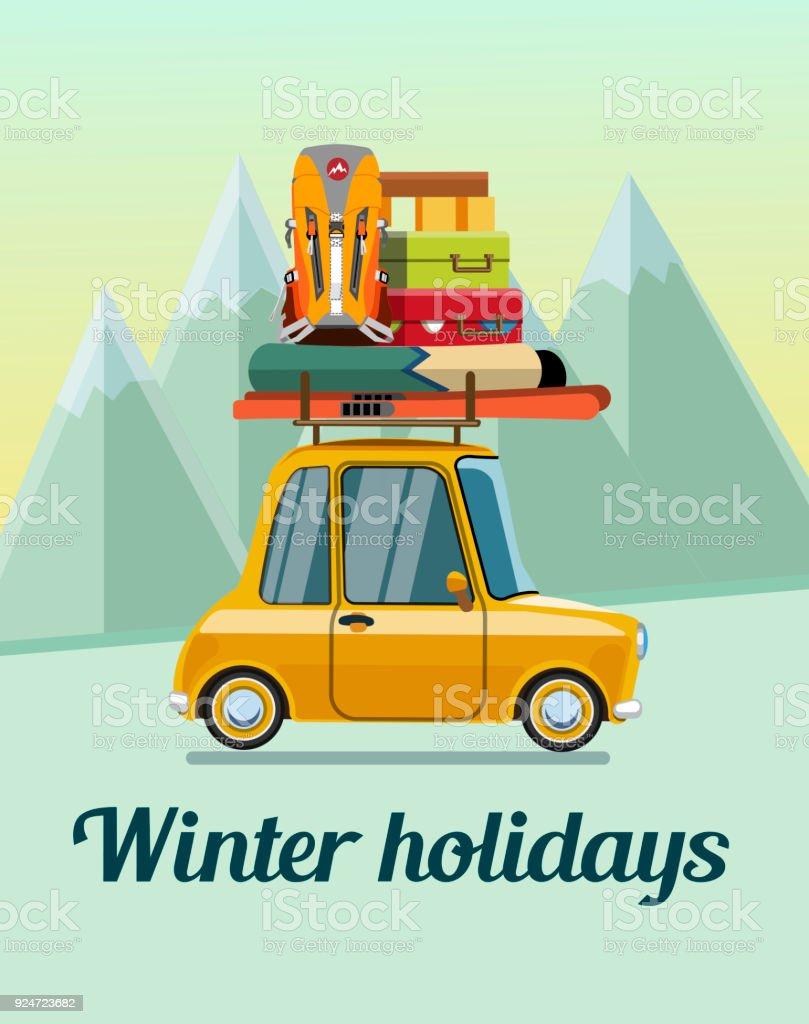 Vacaciones de invierno en las montañas - ilustración de arte vectorial