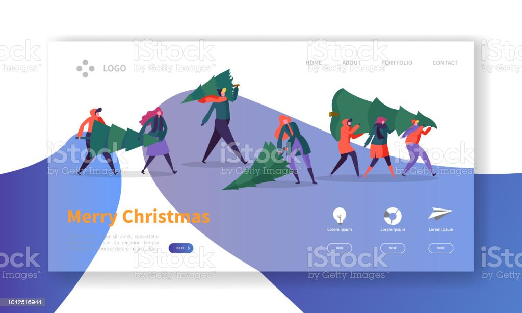 winter holidays landing page template merry christmas and happy new year website layout with flat