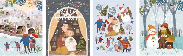 stockillustraties, clipart, cartoons en iconen met winter vakantie! vrolijk kerstfeest en gelukkig nieuwjaar! vector schattige illustraties van een familie op de natuur, thuis en in de stad, sprookjesachtige personages in het bos en een set van geïsoleerde objecten. drawin - christmas family