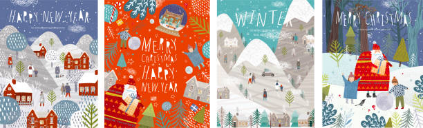 ilustrações de stock, clip art, desenhos animados e ícones de winter holidays merry christmas and happy new year! vector illustrations of nature, landscape, houses, people, and trees; drawing santa claus and happy children and family in the forest. backgrounds. - family christmas