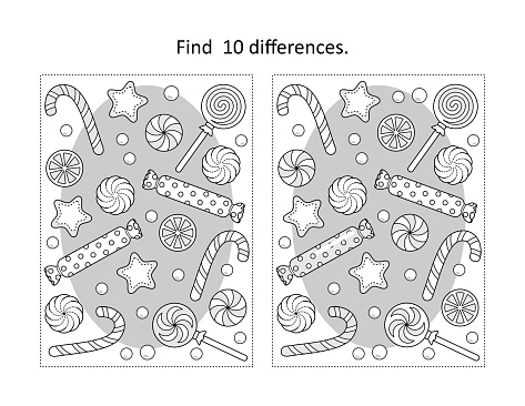 Winter holidays, New Year or Christmas candy and cookies find the differences picture puzzle and coloring page