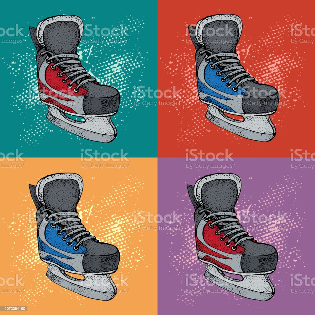 Winter holidays pattern with ice skates cartoon sketch. Red and blue...