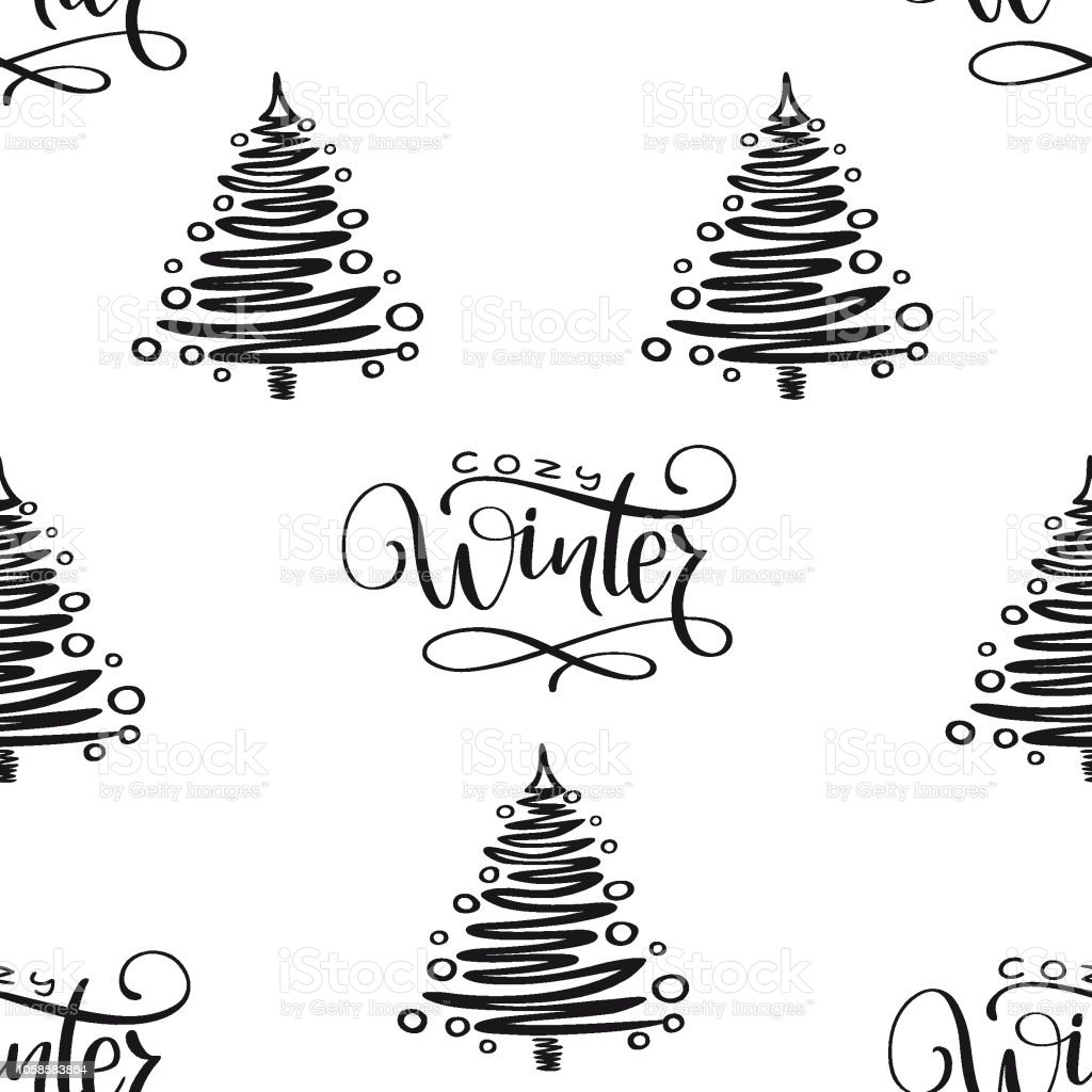 冬の休日のシームレスな背景にクリスマス ツリー手書き句が